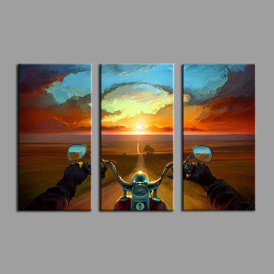 E - HOME Sunset Pattern Framed Canvas Print 3PCS