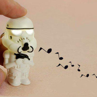 Armed White Soldier with LED Light Voice Key Chain 1pc