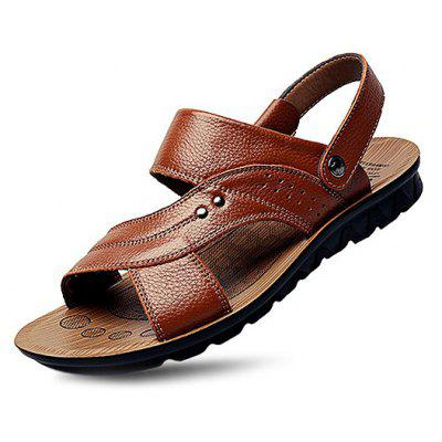 Male Trendy Adjustable Beach Leather Plus-size Sandals
