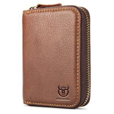 BULLCAPTAIN Zipper Around Genuine Leather Card Holder