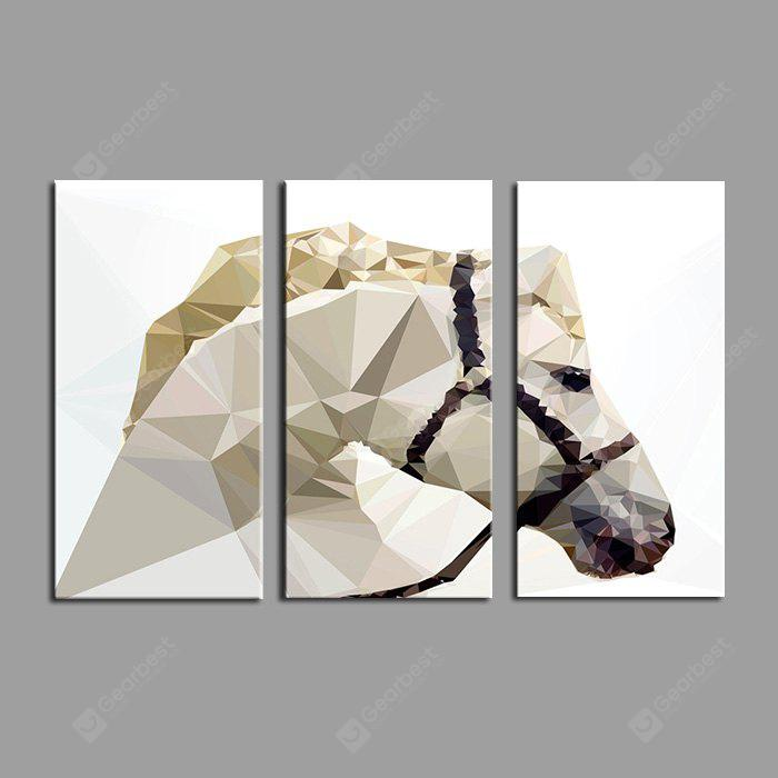 E - HOME Abstract Horse Pattern Framed Canvas Print 3PCS
