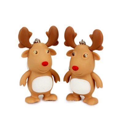 Cartoon Christmas Elk Keychain with Light Sound Toy 1pc