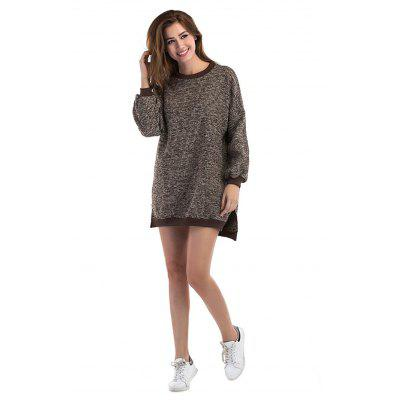 Fashionable Round Collar Loose Spliced Sweater