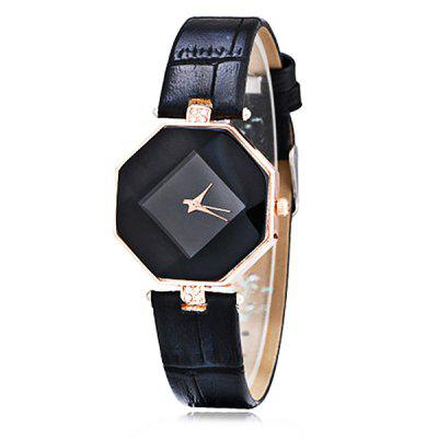 Gearbest Women Elegant Diamond-shaped Leather Quartz Watch