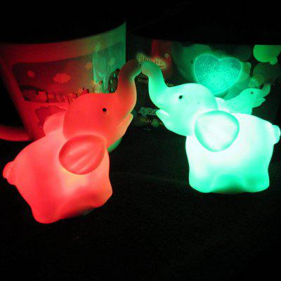Elefante bonito RGB Night Light 2PCS