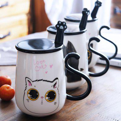Cat Motif Ceramic Mug Milk Coffee Cup with Cover Spoon