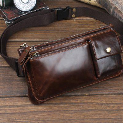 YIANG Retro Genuine Leather Waist Bag