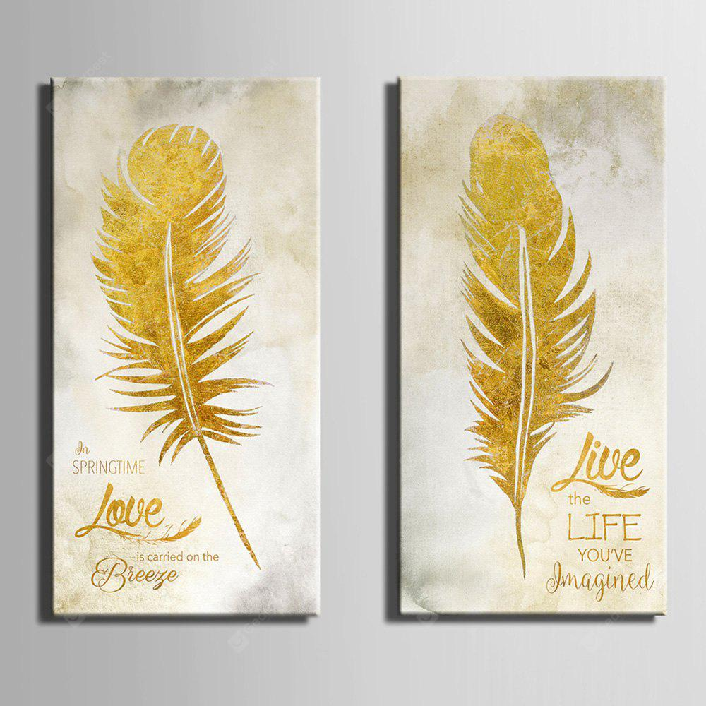 E - HOME Pretty Feather Print Framed Canvas Wall Decor 2PCS - $26.73 ...