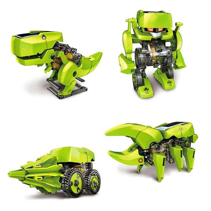 CUTE SUNLIGHT 2125 T4 4 in 1 Solar Dinosaur Robot DIY Kit - GREEN