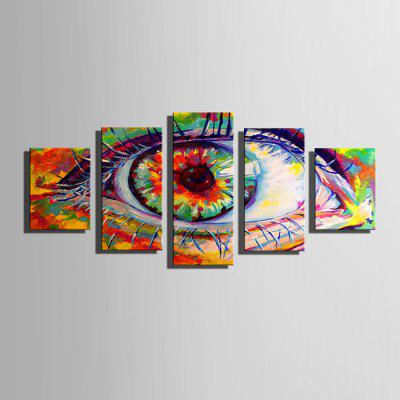 E - HOME Modern Prints Eye Hanging Wall Art 5PCS