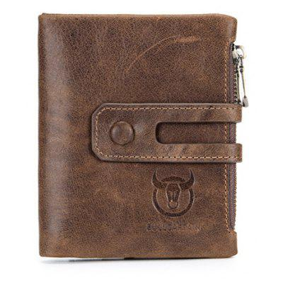 BULLCAPTAIN Men Genuine Leather Bifold Wallet with Buckle