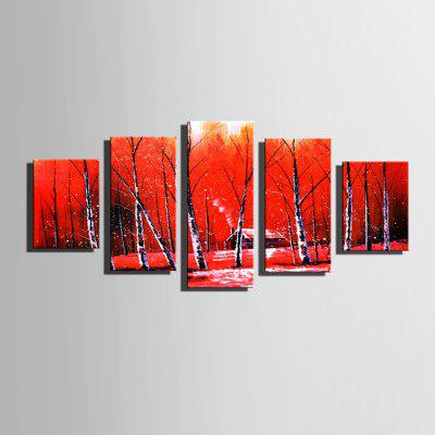 E - HOME Stampe su tela Woods Hanging Wall Art 5PCS