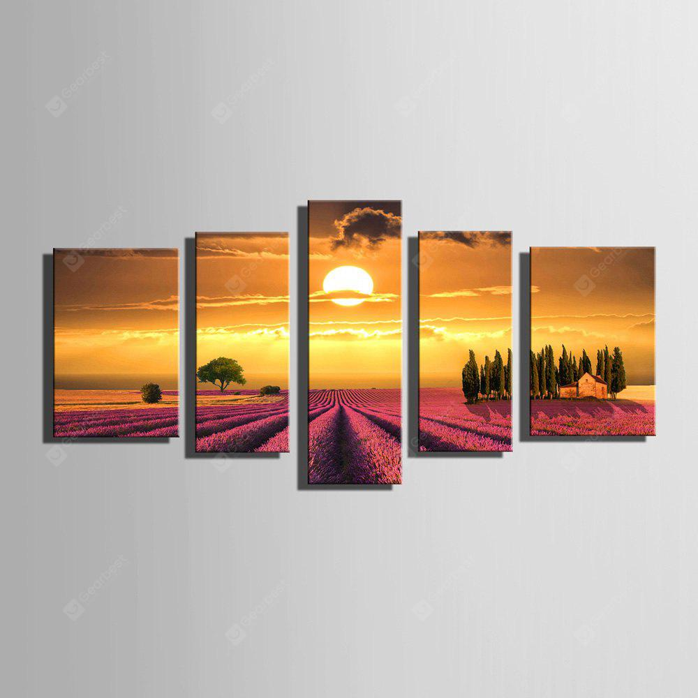E - HOME Lavanda sin marco Sunset Canvas Prints 5pcs