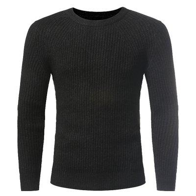 Crew Neck Solid Color Knitting Sweater