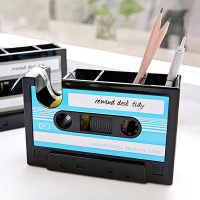 Buy BLUE Retro Cassette Style Tape Machine Pen Container Holder for $12.67 in GearBest store
