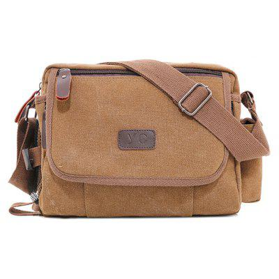 Buy BROWN Men Stylish Durable Canvas Shoulder Bag for $22.34 in GearBest store