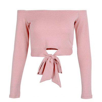 Off Shoulder Bowknot Bare Midriff Long Sleeves T-Shirt