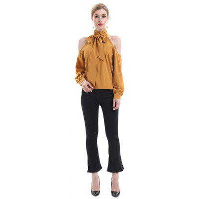 Cold Shoulder Bowknot Solid Color Blouse