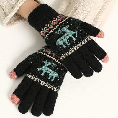 Ladies Knitted Deer Pattern Keep Warm Touch Screen Gloves