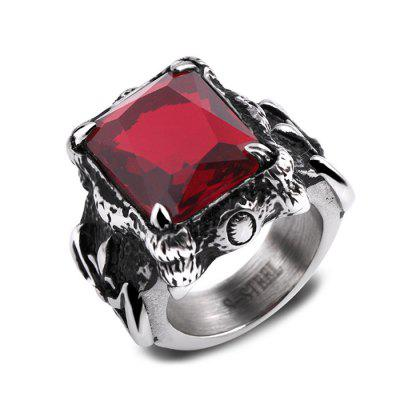 Stainless Steel Vintage Inlaid Artificial Zircon Women Ring
