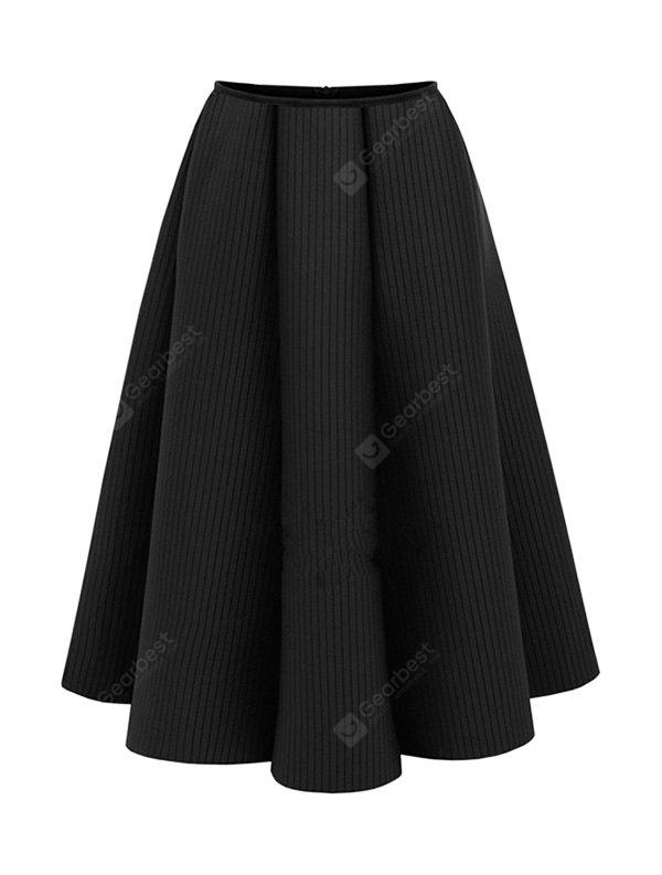 Female Charm A-line High-waist Midi Flared Skirt