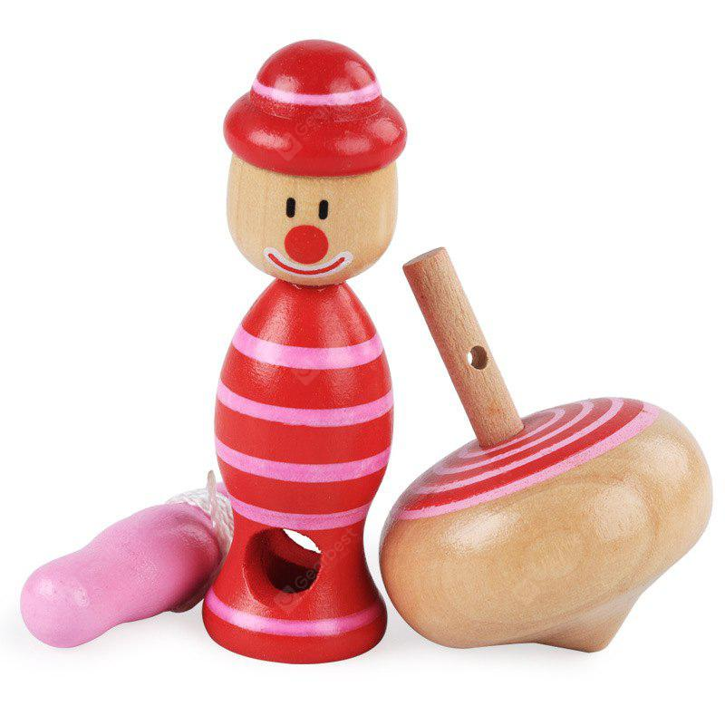 Wooden Children Educational Toy Clown Drawstring Gyro 1pc