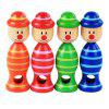 Wooden Children Educational Toy Clown Drawstring Gyro 1pc - RED