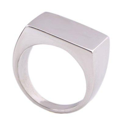 Men Solid Rectangle Stainless Steel Ring