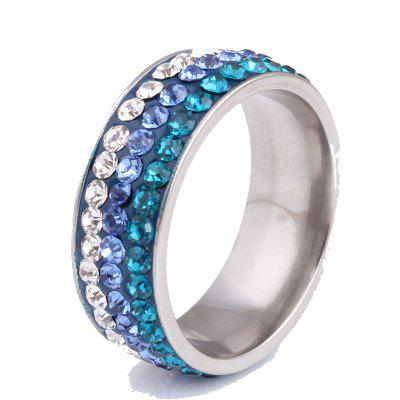 Unisex Artificial Diamonds Stainless Steel Ring
