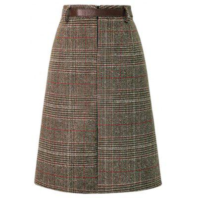 Fitted High Waist Plaid Belted SkirtWomens Dresses<br>Fitted High Waist Plaid Belted Skirt<br><br>Dresses Length: Knee-Length<br>Material: Acrylic, Polyester<br>Package Contents: 1 x Skirt<br>Package size: 35.00 x 28.00 x 3.00 cm / 13.78 x 11.02 x 1.18 inches<br>Package weight: 0.4100 kg<br>Pattern Type: Plaid<br>Product weight: 0.3800 kg<br>Season: Winter, Spring, Fall<br>Silhouette: Sheath<br>Style: Fashion<br>With Belt: Yes