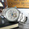 Forsining F98469 Hollow-out Stainless Steel Band Men Watch - WHITE