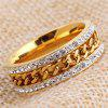 Unisex Stainless Steel with Rhinestone Decoration Ring - GOLDEN