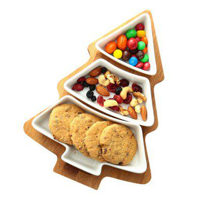 3-in-1 Christmas Tree Serving Tray Salad Dessert Fruit Plates