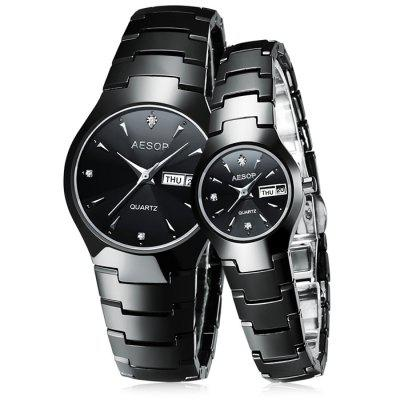 AESOP 8835G / L Ceramics Band Couple Watch