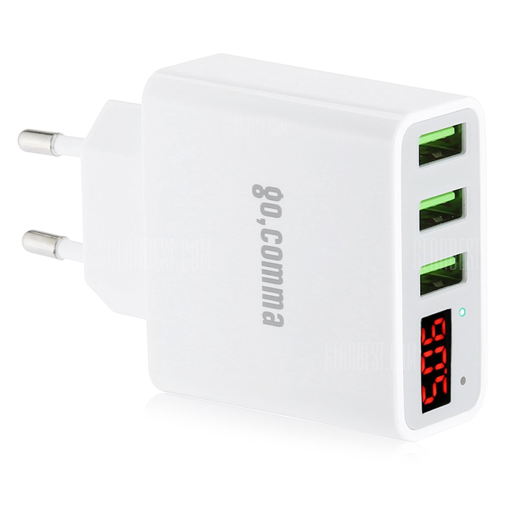 Gocomma 5V 3A 3 USB Smartphone Current Voltage Display Adapter Charger