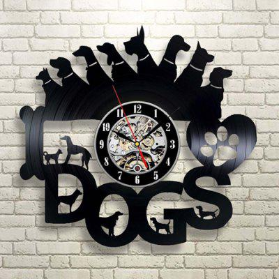 Timelike Retro Dog Pattern Vinilo Reloj de pared de cuarzo