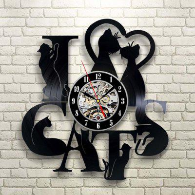 Timelike Retro Cat Pattern Reloj de pared de vinilo de cuarzo