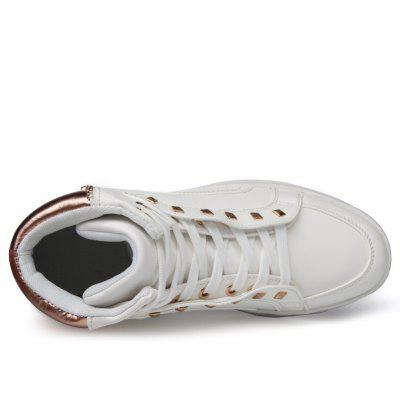 PU Rivet Ankle-high Sports Skateboarding ShoesMen's Sneakers<br>PU Rivet Ankle-high Sports Skateboarding Shoes<br><br>Closure Type: Lace-Up<br>Contents: 1 x Pair of Shoes<br>Lining Material: Mesh<br>Materials: Mesh, PU, Rubber<br>Occasion: Sports, Outdoor Clothing, Holiday, Daily, Casual<br>Outsole Material: Rubber<br>Package Size ( L x W x H ): 32.00 x 23.00 x 12.00 cm / 12.6 x 9.06 x 4.72 inches<br>Package weight: 1.0000 kg<br>Product weight: 0.8500 kg<br>Seasons: Autumn,Spring,Winter<br>Style: Leisure, Fashion, Comfortable, Casual<br>Toe Shape: Round Toe<br>Type: Sports Shoes<br>Upper Material: PU