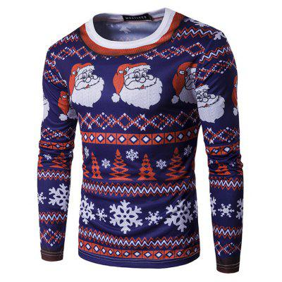 Fashion Long Sleeve Santa Claus Motifs Christmas T-shirt