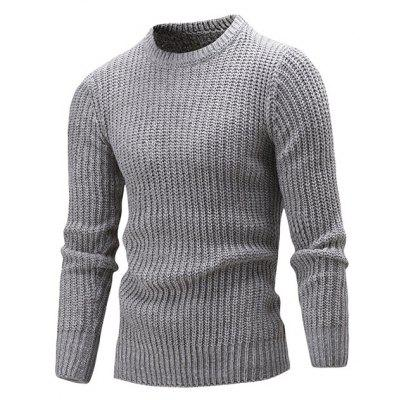 Classic Crew Neck Solid Color Sweater