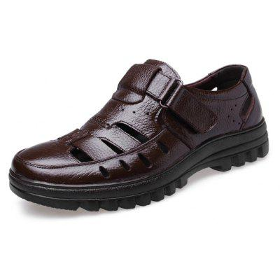 MUHUISEN Men Business Hollow Casual Leather Sandals