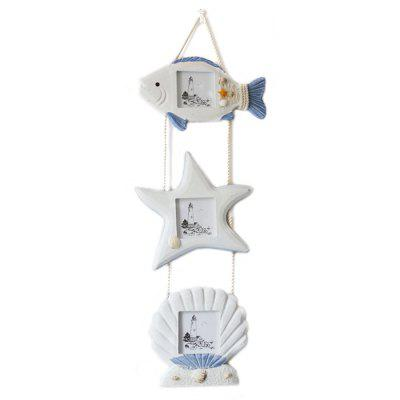 LmDec Nautical Fish Star Shell Photo Frame Wall Hanging