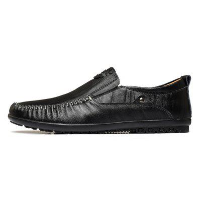 Men Business Soft Metal Decor Flat LoafersFlats &amp; Loafers<br>Men Business Soft Metal Decor Flat Loafers<br><br>Closure Type: Slip-On<br>Contents: 1 x Pair of Shoes, 1 x Box, 1 x Dustproof Paper<br>Function: Slip Resistant<br>Materials: Rubber, Leather<br>Occasion: Tea Party, Party, Office, Casual, Shopping, Daily, Holiday<br>Outsole Material: Rubber<br>Package Size ( L x W x H ): 33.00 x 24.00 x 13.00 cm / 12.99 x 9.45 x 5.12 inches<br>Package weight: 0.9000 kg<br>Product weight: 0.7000 kg<br>Seasons: Autumn,Spring<br>Style: Modern, Leisure, Fashion, Comfortable, Casual<br>Toe Shape: Round Toe<br>Type: Flat Shoes<br>Upper Material: Leather