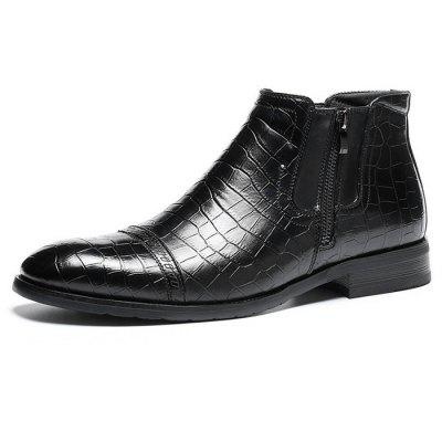 Z6 Embossed Business Casual Ankle Boots