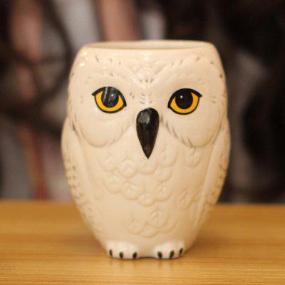 3D Owl Motif Ceramic Mug Milk Coffee Cup 1PC