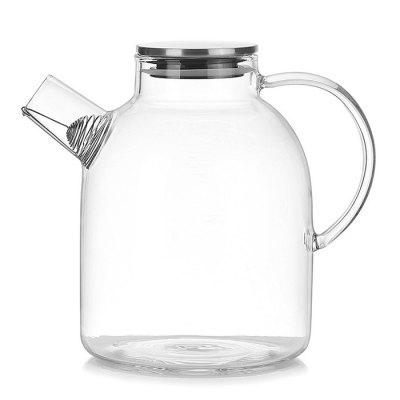 Transparent Glass Heat Resistant Teapot with Stainless Steel Lid