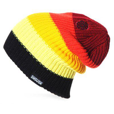 Winter Warm Spliced Color Knitted Skull Cap