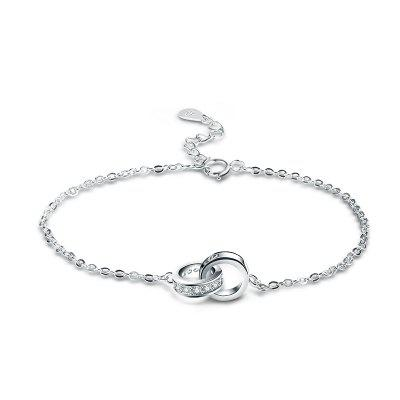 T400 3891 Sterling Silber Doppelring Frauen Armband