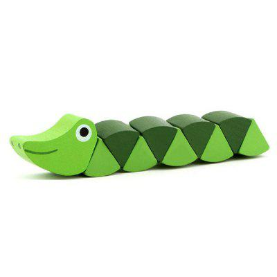 Wooden Caterpillar Twisted Worm Insect Toy 1pc