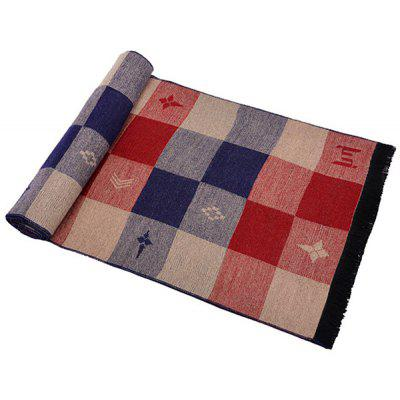 Male Knitted Soft Plaid Pattern Casual Spliced Scarf
